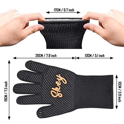 51II8hPgcXL - SKEY Grillhandschuhe Ofenhandschuhe Grill Handschuhe zubehör Hitzebeständige bis zu 800 ° C Universalgröße Kochhandschuhe Backhandschuhe für BBQ Kochen Backen und Schweißen-Klassisch Schwarz