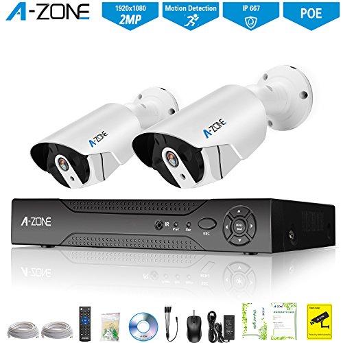 A-ZONE Überwachungskamera Set 1080P Full HD 4Kanal POE NVR 2 Kugel Kameras 2.0MP Videoüberwachung Außen Innen Wasserdichte IP67 Sicherheitskamera Remote View kostenlose APP mit Festplatte 1TB Kugel-kamera 1080p