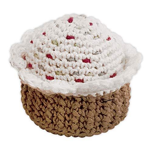 LOOP BABY weißes Törtchen mit bunten Streuseln - Cupcake aus Bio-Baumwolle - Kaufladen-Zubehör - Zubehör-Puppenküche Bio-cupcake