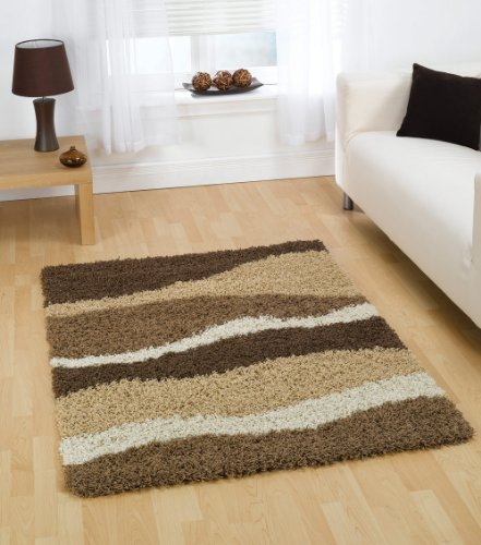 Large Quality Shaggy Rug in Brown Beige 160 x 230 cm (5'3