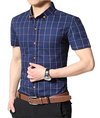 AIYINO Herren Kurzarm Hemd Kariert Gepunktetes Freizeithemd Baumwolle Businesshemd Mehrere Farben zur Auswahl G-Navy