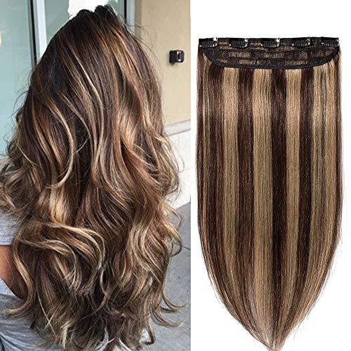 Extension clip capelli veri fascia unica umani one piece - 25cm (40g) #4/27 marrone cioccolato/biondo scuro - 100% remy human hair una ciocca