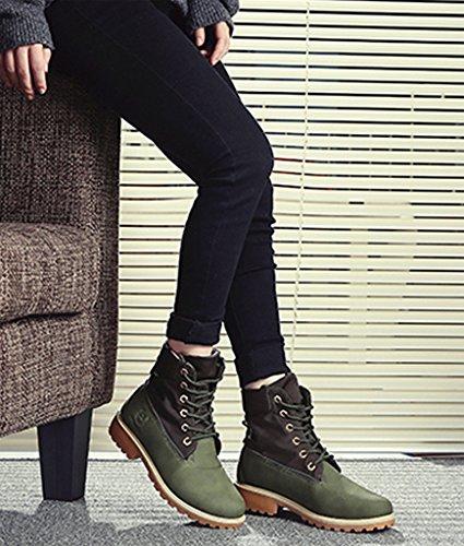 Stivali Donna Verde Con Martin Pizzo Minetom Scarpe Lacci Stivali Classiche Stivali Tacco Piatto Invernali HUwxt5T