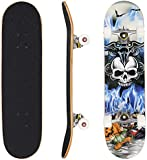 """Ancheer 31"""" Pro Skateboard Complete 9 layer Canadian Maple Wood Double Kick Concave Skate Board"""