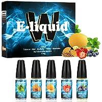 Wotek 5 X 10 ml E-líquido para Cigarrillo Electrónico Líquido E Cigarrillo sin Nicotina o Tabaco con 50% VG 50% Gusto Mixto (Tabaco, Menta, Arándano, Melón, Fresa)