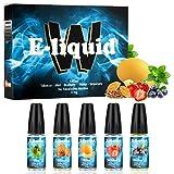 Wotek 5 X 10ml E Liquide Cigarette Electronique Liquide E-Cigarette sans Nicotine ni Tabac avec 50% VG 50% PG SAVEURS Mixte(Tabac, Menthe, Myrtille, Melon, Fraise)