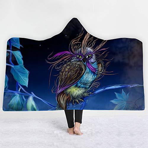 Sherpa Baumwolle Hut (Encounter G Owl-Serie Mit Kapuze Decke 3D Magie Mantel Kinder Decke Sofa Decke Trägt Hut Decke Sherpa Tragbare Samtdecke Reisedecke,Owl23,150 * 130cm)