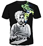 COUSIN CANAL Uomo Casual 3D Estate T-Shirt Top Manica Corta Tees (M, Einstein)