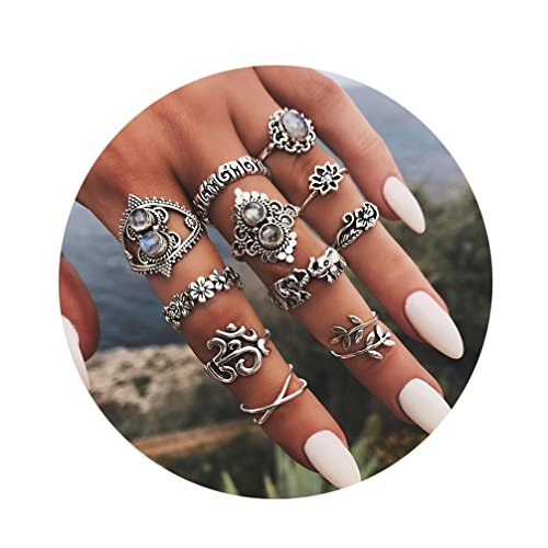 Toporchid Vintage Midi Ringe Fingerring-Set für Damen Mädchen, Elefant Midi Ring Nagel Finger Band Boho Ringe Finger Tip Ring Schmuck,11 Stück