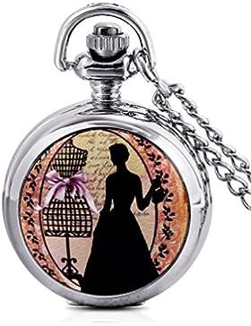 Unendlich U Elegant Prinzessin mit klein arabischen Ziffern Quarz Taschenuhr,Silber