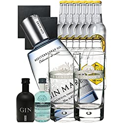 Gin-Set Gin Mare aus Spanien 0,7 Liter + Black Gin Gansloser 0,05 Liter + The London No. 1 Gin 5cl Miniatur + 6 x Thomas Henry Tonic Water 0,2 Liter, 6 x Goldberg Tonic Water 0,2 Liter + 2 London Blue Longdrink Gläser + 2 Schieferuntersetzer quadratisch