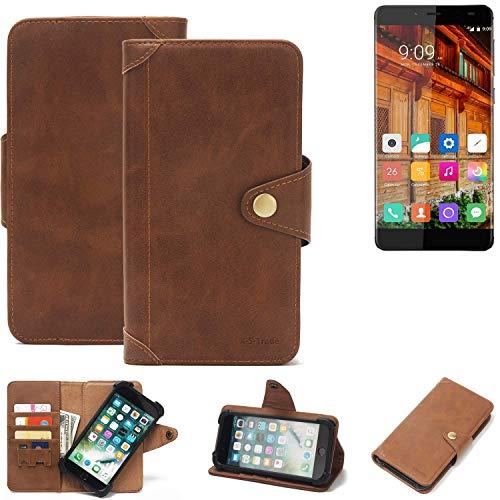 K-S-Trade® Handy Hülle Für Elephone S3 Lite Schutzhülle Walletcase Bookstyle Tasche Handyhülle Schutz Case Handytasche Wallet Flipcase Cover PU Braun (1x)