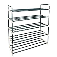 Azadx 5 Tier Shoe Rack, Shoe Tower Shelf Storage Stand Storage Organizer for Mens Womens Shoes Closet with Iron Shelves, Easy Assembly with no Tools (Grey, 5-tier)