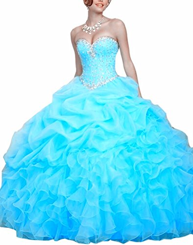 Emmani lunghe da donna dolce cuore Organza ball Gown Sky Blue