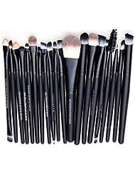 Leisial Set de 20 pièces Pinceau de Maquillage Professional Set Brosse de Cosmétique Kit Brosse de Maquillage Marque de Laine (Noir)