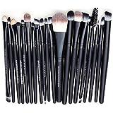 Leisial Set de 20 pinceaux à maquillage roses + noirs
