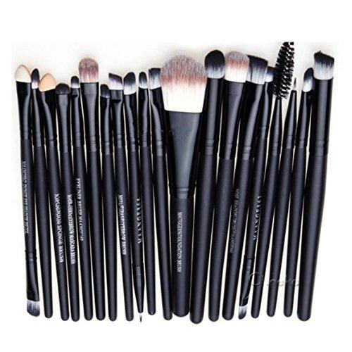 Vi.yo 20 Pcs Ensemble de Brosses Makeup Premium Cosmetics Foundation Blush Kit de Brosse à Poudre(Noir)