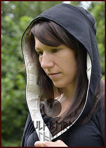 LARP Hochmittelalter Bundhaube aus Wolle Coiffe verschiedene Farben Kopftuch Damenhaube (Schwarz )
