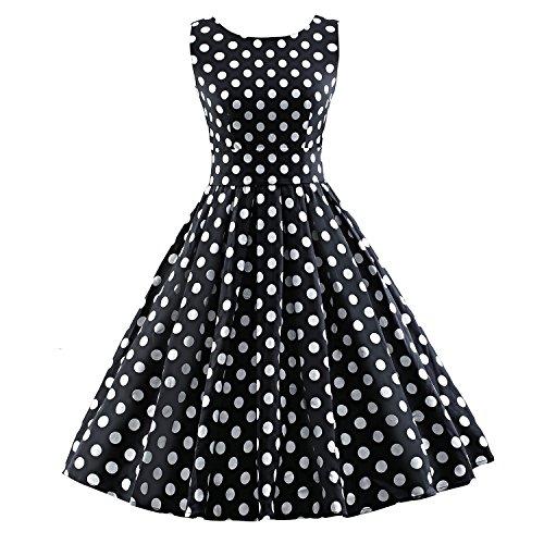 iLover Vintage Rockabilly gestreiften Kleid Hepburn Stil Partykleid Cocktailkleid 50er Jahr Abendkleid Black1 (50er Girl Jahre Up Pin)