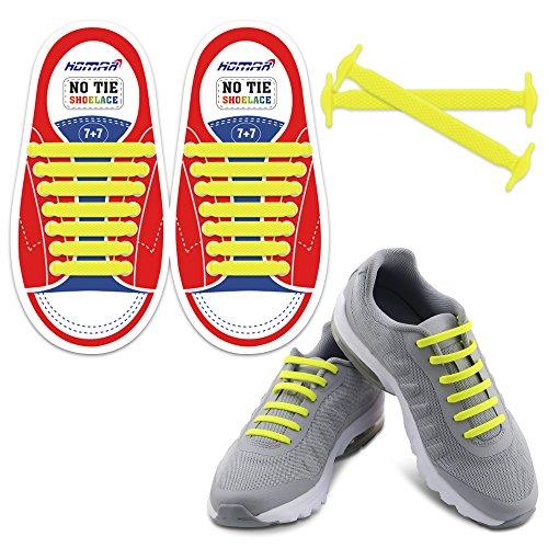 Homar No Tie Lacci per scarpe per bambini e adulti - Impermeabile in silicone elastico piatto Laces Athletic scarpa da corsa con multicolore per Scarpe Sneakerboots bordo e scarpe casual (Kid Size Yellow)
