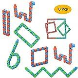 ZYX Wacky Tracks Snap(Paquet de 6) Cliquez Finger Fidget Toys- Gadget sensoriel Puzzle DIY Jouets pour Enfants et Adultes