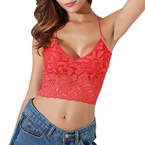 SEDEX Crop Tops Damen Spitze Weste Crochet Behälter Unterhemd Spitze Bluse Bralet Crop Top Weiß Camisole Spitzen Bustier Damen Bralet Bra -
