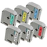 6x kompatibel Brother P-touch Schriftband 9mm M-K221 M-K121 M-K421 M-K521 M-K621 M-K721, 9 mm x 8 m, für Brother P-touch 65, PT-75, PT-85, PT-M95 (verschiedenfarbiges, selbstklebend)