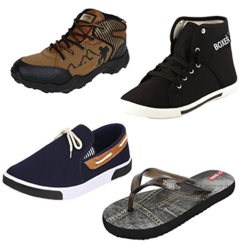 Earton Men Combo Pack of 4 Casual Shoes With Loafer & Moccasins & Flip-Flops (10 uk)