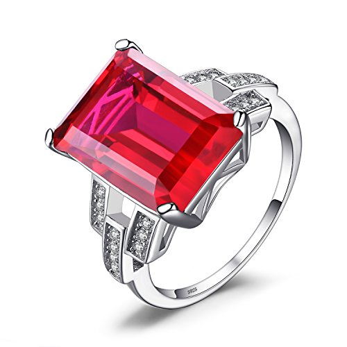 JewelryPalace Saphir Rubis Emeraude de Synhtèse Bague Femme Engagement Fiancaille Alliance Mariage en Argent Sterling 925 Vert Rouge Bleu