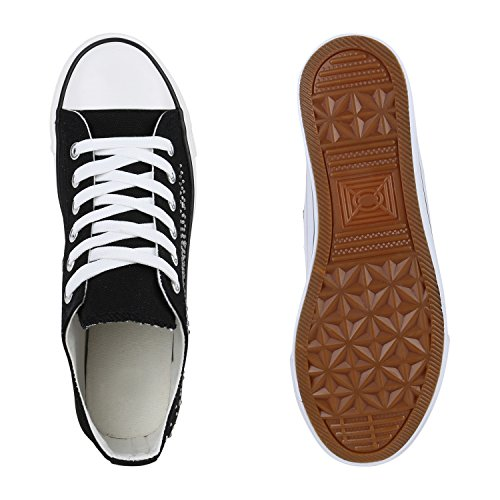 Damen Sneakers Spitze | Denim Sportschuhe Strass | Stoffschuhe Blumen Prints | Textil Schuhe | Sneaker Low Schwarz Nero