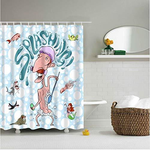 SFQAZW Umweltfreundliche Polyester Wasserdicht Bad Duschvorhang Set 3D Cartoon Mädchen Serie Dekoration Bad Bildschirme (W) 180x(H) 180cm