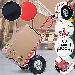 Diable de Transport - charge max. 200kg, Pliant, 2 Roues Pneumatiques, en Acier, Rouge ou Noir - Diable de Manutention, Chariot à Main, Système de Transport