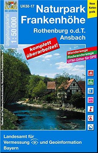 UK50-17 Naturpark Frankenhöhe, Rothenburg o.d.T., Ansbach: Neustadt an der Aisch, Langenzenn, Heilsbronn, Feuchtwangen, Bad Windsheim, Windsbach, ... Karte Freizeitkarte Wanderkarte)