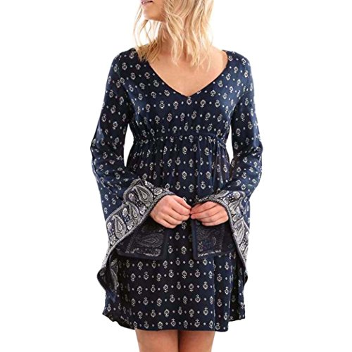 Xjp Damen Gedruckt Lange Puff Ärmel V-Ausschnitt Kleid (XL)