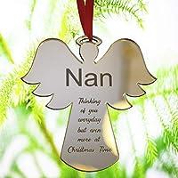 Engraved Gift Bauble Xmas Tree Decoration Angel Shape Gift For Mum Dad Nan Grandad Grandma Him Her - Christmas Bauble - L1124