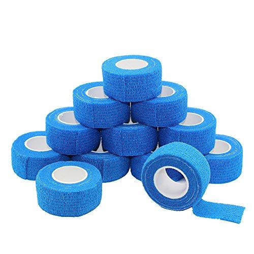 Juego de 12 rollos de cinta autoadhesiva de 2,5 x 1,5 m, cinta deportiva fuerte para dedos y esguinces...