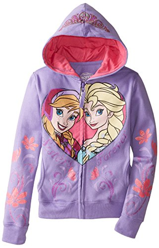 Disney Frozen Anna and Elsa Sisters Forever Girls Zip-Up Hoodie Sweatshirt | 6X