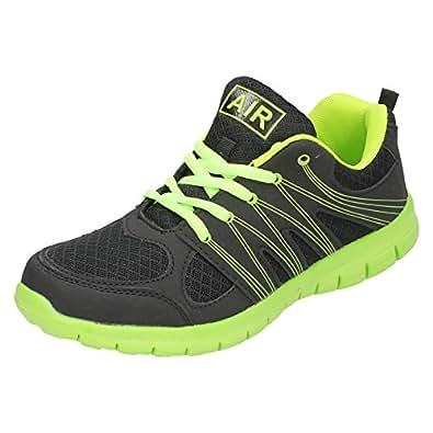 Mens Air Tech Trainers 'Sprint' - Black/Neon Green - UK Shoe Size 8