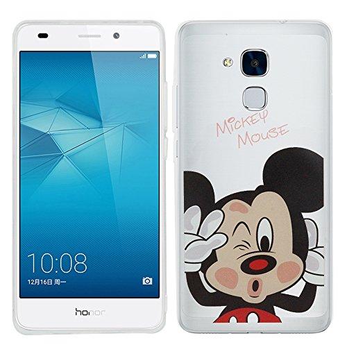 VComp-Shop® Transparente Silikon TPU Handy Schutzhülle mit Motiv Cartoon Disney für Huawei Honor 5c + GRATIS Displayschutzfolie - Mickey Mouse (Gratis Mickey-maus)