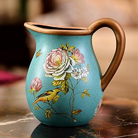 Lx.AZ.Kx Continental vasi di ceramica moderna ed elegante dei POT del fiore fiore di emulazione continentale Kit vasi gioielli arredate,blu