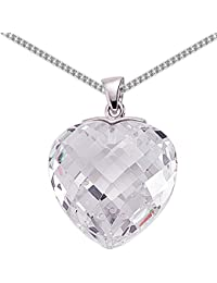 Jewelco London Rhodium Plated Sterling Silver Heart Cubic Zirconia Love Heart Pendant Necklace 18 inch