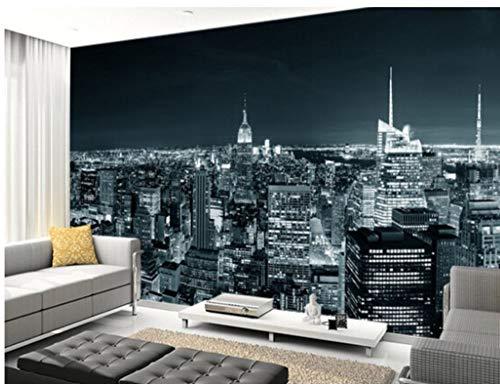 SKTYEE 3D dreidimensionale Retro-Schwarz-Weiß-Wandgemälde New York Manhattan Skyline Wohnzimmer Schlafzimmer Sofa Wandtapete, 200x140 cm (78,7 x 55,1 Zoll)