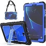 SEYMAC Galaxy Tab A 10.1 Hülle Robuste Schutzhülle mit eingebautem Ständer/Verstellbarer Schultergurt für Samsung Galaxy Tab A6 10.1 2016 Tablet (SM-T580/SM-T585, Keine Stift- Version) schwarz/blau