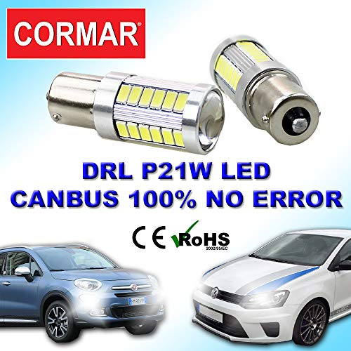 COPPIA LAMPADE LED DIURNE POSIZIONI BA15S 1156 P21W 500X Q7 POLO SEAT 12V 21W MEGANE CANBUS DRL