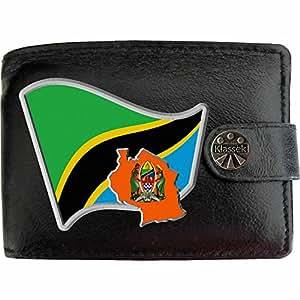 Tanzanie Drapeau Carte KLASSEK Portefeuille Homme Porte Monnaie. Tanzanien Armoiries Cuir Noir Véritable Tanzania Cadeau Présente Avec Boîte en Métal