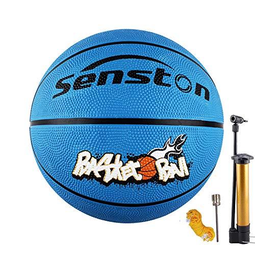 Senston Bambini Pallone da Basket di Gomma/Unisex Pallacanestro da Basket con 3 Accessori per Bambini Kids - Taglia 3/5