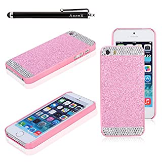 AcenX(TM) Cute Luxury Rhinestone Diamond Crystal Glitter Bling Hard Case Cover Shell Phone Back Cover for Apple iPhone6 4.7 incehs(Pink)