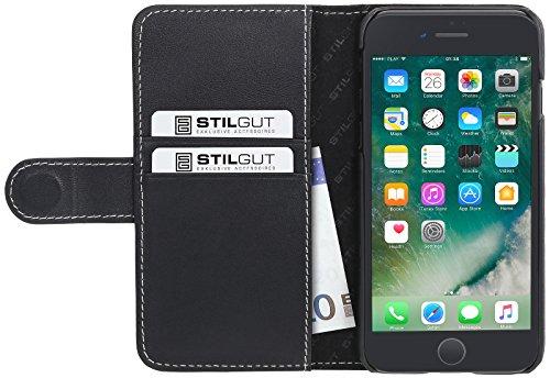 StilGut Talis Case con tasca per carte , custodia in pelle cover per iPhone 7 & iPhone 8 (4,7). Chiusura a libro Flip-Case in vera pelle lavorata a mano, Blu Scuro Nappa Nero Nappa