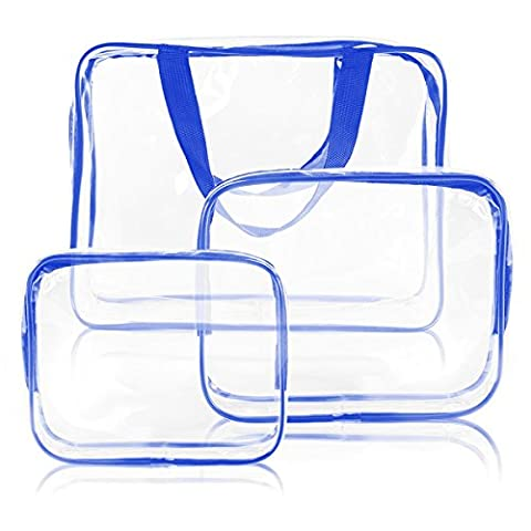 TSACTE 3pcs transparent waterproof plastic PVC travel cosmetic bag environmental protection bathroom bathroom wash bag waterproof travel bag storage bag (blue and white transparent)