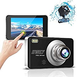 Dual Dash Cam Front and Rear Camera with Night Vision, 1080P Dashcam with 4 inches Touch IPS Screen, Dual Lens Dashboard Car Camera, 170 Degree Wide Angle, Loop Recording, G-Sensor